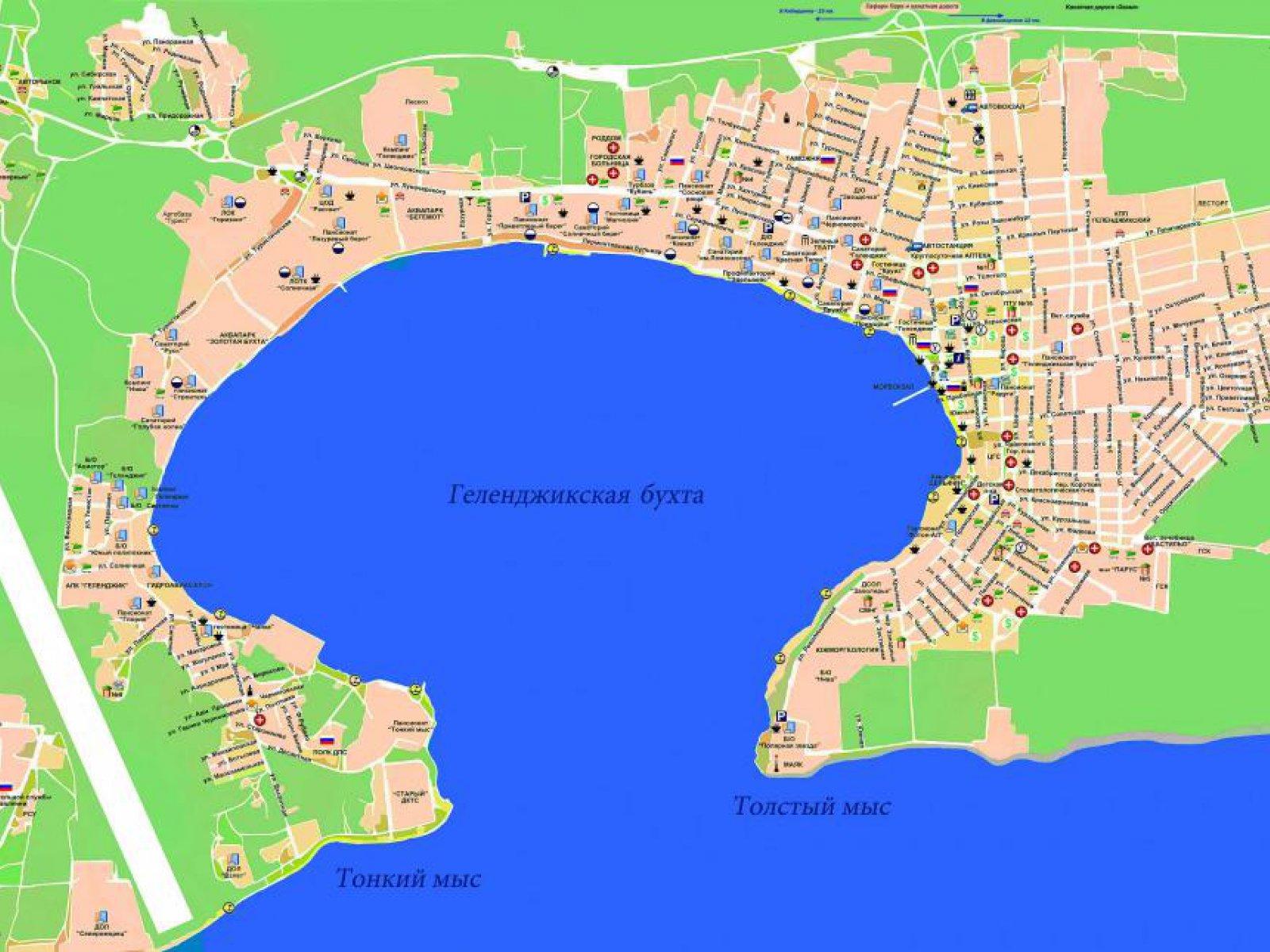 Пляж Тонкий мыс в Геленджике на карте