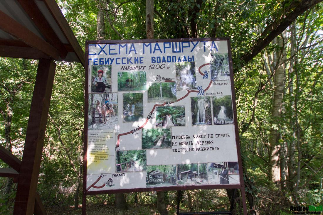 Гебиусские водопады в Геленджике схема маршрута
