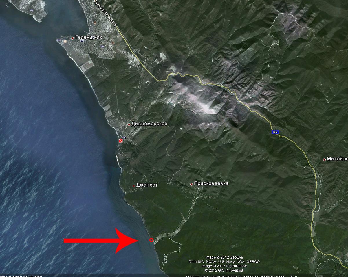 Скала Парус в городе Геленджик на карте