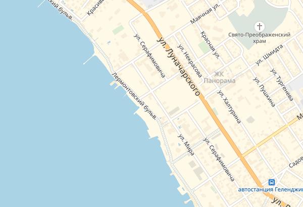 Лермонтовский бульвар в Геленджике на карте